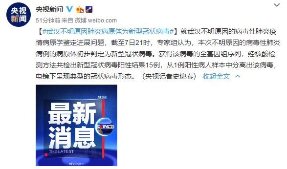 武汉不明原因肺炎疫情病原体初步判定为新型冠状病毒
