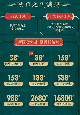 重庆军科整形美容医院秋季优惠促销
